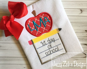 1st Day of School Apple, Pencil and Paper Appliqué Embroidery Design - back to school appliqué design - teacher appliqué design