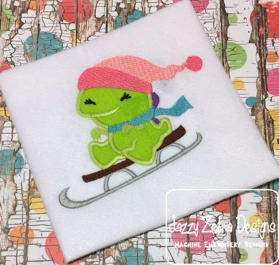 Dinosaur with sled Applique Embroidery Design - dinosaur appliqué design - Winter appliqué design - sled appliqué design - sledding appliqué