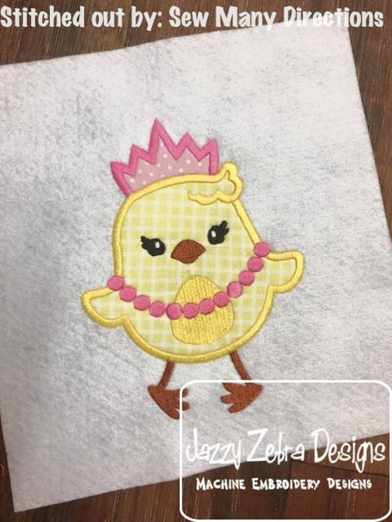 Easter Chick Princess Applique Embroidery Design - Easter appliqué design- girl appliqué design