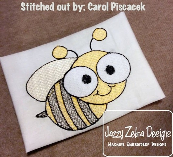 Bee 1 Sketch Embroidery Design - summer Sketch Embroidery Design - spring Sketch Embroidery Design - bee Sketch Embroidery Design