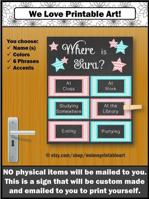 Custom Dorm Door Sign College Dorm Decorations Dorm Decor