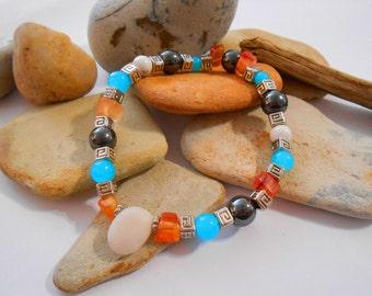 Carnelian & Cyan Blue Glass Stretch Bracelet Summer Jewelry Hematite Beaded Bracelet Blue Orange Elastic Bracelet Handmade Bolivian Jewelry