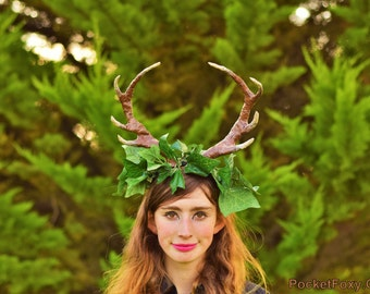 Deer Ivy Antlers Stag Doe Faun Fawn Hart Red Sika Muntjac Satyr Horns Woodland Spirit Costume Fancy Dress Custom Colour Shape Anime Cosplay