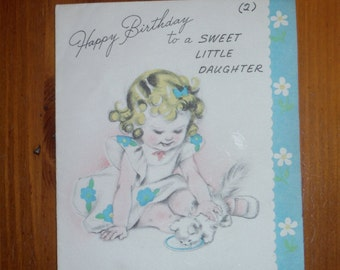 Vintage Daughter Happy Birthday Card - 1950's Daughter's Birthday Card - Vintage Little Daughter Birthday Greeting Card - Daughter Cat Card