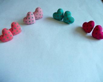 Polka dot fabric heart stud earrings