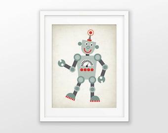 Cute Robot Nursery Print - Children's Robot Art - Baby Boy Shower Gift - Kids Playroom Decor - Boys Nursery Pictures - Robot Wall Art #174