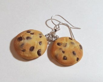Chocolate Chip Cookie Earrings, Polymer Clay Food Jewelry, Dangle Earrings