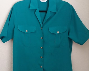 80s Turquoise with Gold Button Detail Blouse