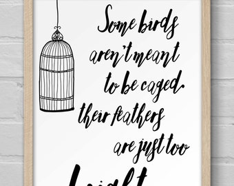 Art Print | 8x10 Print | Wall Art | Housewarming Gift | Inspirational | Quote | Shawshank Redemption | Some Birds Aren't Meant to Be Caged