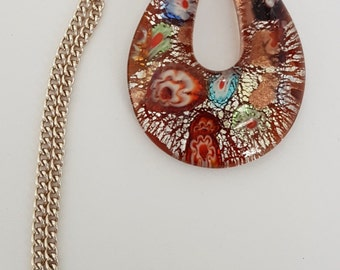 Gorgeous Murano Glass Pendant Choker Necklace - vintage 1950s