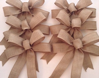 Burlap Natural Color Bows / Christmas Tree Bows / Vintage Bows / Burlap Wedding Decorative Bows / Set of 6 /Handmade and Design wired ribbon