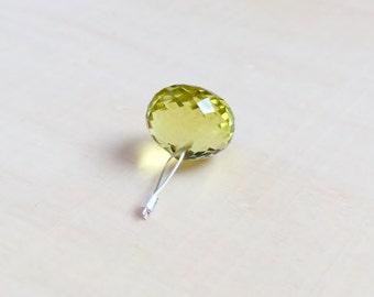 AAA Lemon Quartz Focal, Onion Briolette, Gemstone Pendant, Jewelry and Beading Supplies, Lemon Yellow Quartz