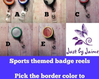Sports themed badge reel -- show your love of sports while wearing your ID -- football, soccer, baseball, volleyball, basketball, or custom