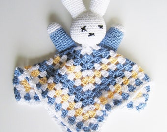 blue bunny lovey, Easter Bunny Snuggly, stuffed bunny, rabbit plushy, baby lovey, rabbit stuffy, Easter basket, stuffed animals, yellow