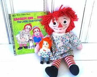 """RAGGED ANN COLLECTION/3 Piece/Cloth Raggedy Ann Doll 15""""/Mini Miniature Raggedy Ann Doll 4 3/4""""/ The Little Gray Kitten Golden Book"""