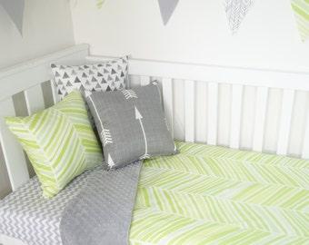 Green and grey herringbone nursery set