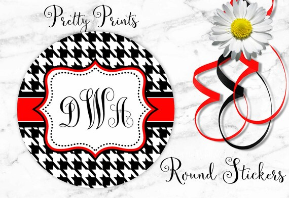 Houndstooth Stickers - Houndstooth - Black - Red - Set of 12 - Round Labels -  Custom Stickers - School Labels - Personalized Labels - Tags