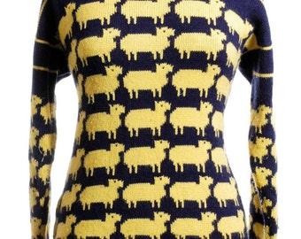 Vintage 1980's Yellow Sheep Jumper 14 & Below - www.brickvintage.com