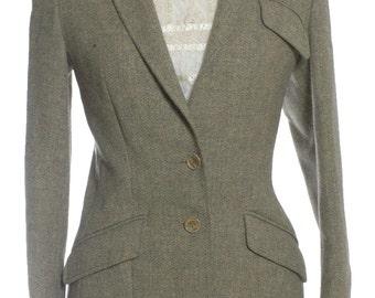 Vintage 1970's Harella Herringbone Tweed Jacket 12 - www.brickvintage.com