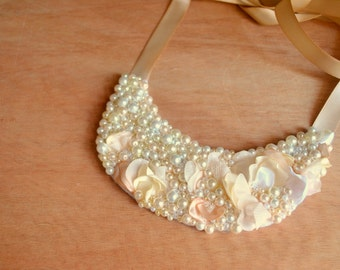 Bib, Necklace: Pearl, Bridal, Accessory, Wedding, Statement, Jewelry
