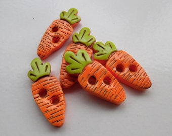 Carrot buttons ~ Set of 5