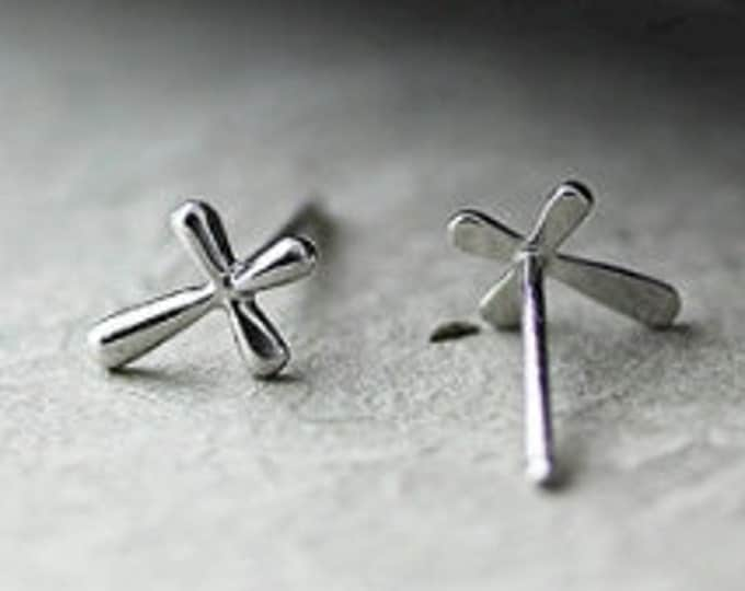 Tiny Silver Cast Stud Cross Earrings Small Modern Design Womens Girls Christian Jewelry - Saint Michaels Jewelry