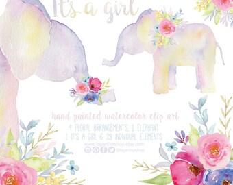 Floral elephant, Watercolor clipart, PNG, bouquet, arrangement, bridal shower, for blog, for nursery wall art, invitations, quotes, prints