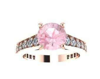 Morganite Engagement Ring 14K Rose Gold Engagement Ring Diamond Engagement Ring Fine Jewelry Valentine's Birthday Gift Women's Jewelry-V1081