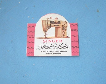 Vintage 1950s Pink Singer Slant O Matic Model 401 Needles; White/Pink Folder; New-Old Stock; Free Ship/U.S.