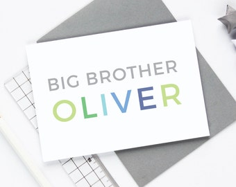 Personalised Big Brother Card, New Baby Sibling Card