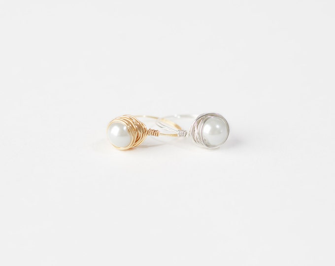 White Pearl Wire Ring