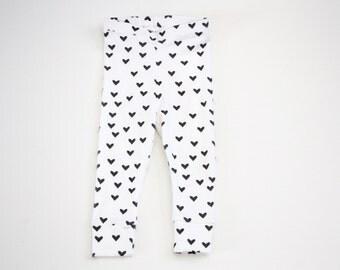 Organic Leggings, Black Heart Leggings, Girl Leggings, Baby Leggings, Valentine clothing, Cuffed Baby Leggings, Kids Leggings, Kids Apparel