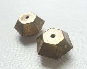 Vintage Metal Copper Hexagon Hollow Large Beads Lot - PA1020