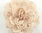 3 inch Ivory cut out fabric flower - Large flowers for headband or hair clip diy - Wholesale craft flowers for wedding - Flower heads