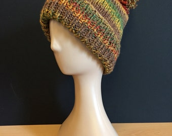 Hand Knitted bobble hat - red/mustard/green/brown (autumn)