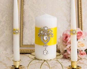 Wedding Unity Candle Set - Crystal Brooch, Lemon Yellow Wedding Candles, Yellow Unity Candles, Custom Wedding Candles, Crystal Candles
