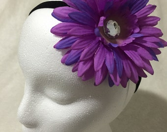 Purple Silk Flower Hair Clip