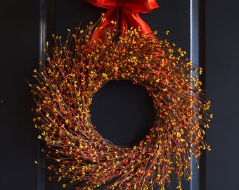Orange and Yellow Berry Wreath - Spring Wreath - Fall Wreath - Fall Berry Wreath - Summer Wreath - Thanksgiving Wreath - Halloween Wreath