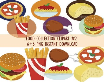 Food collection clipart, pizza, spaghetti, junk food, cheese, PNG on transparent background for scrapbooking, invitations, instant download