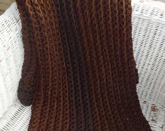 CROCHET BLANKET THROW, Brown chunky rib crochet blanket