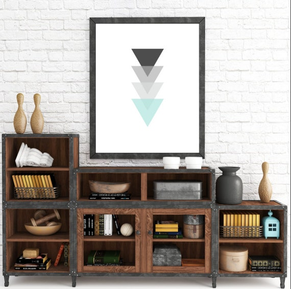 Monochrome Triangle Art, Turquoise and Gray Artwork, Black and Blue Decor, Triangle Wall Art, Minimalist Tribal Decor, Black Geometric