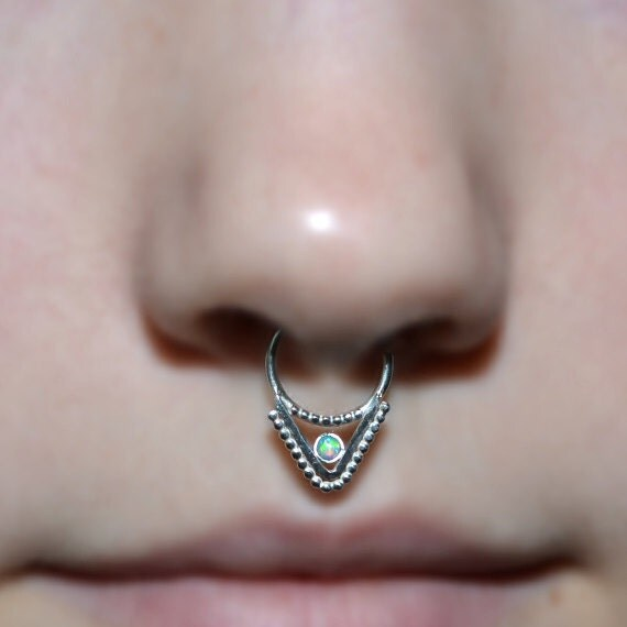Septum Ring 2mm Opal - Silver Septum Jewelry - Nose Ring Hoop - Cartilage Earring - Nipple Piercing - Helix Ring - Tragus Earring 14g