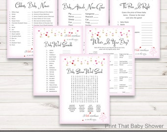 Baby Shower Game Bundle - 6 Games package - Valentine Baby Shower - Pink Hearts Shower Games - Celebrity Baby Names etc - Valentine Hearts