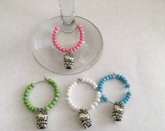 Set of 4 Hello Kitty Wine Charms