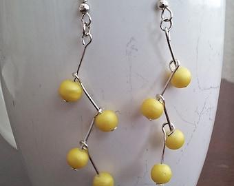 Beaded Yellow Zig Zag Dangle and Drop Earrings