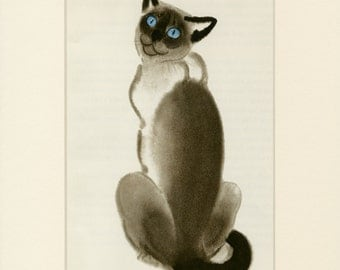 Vintage Cat Print Siamese Cat by Clare Turlay Newberry C. 1937 Vintage Decor Matted 9x12""