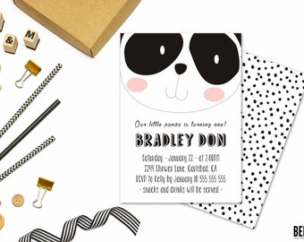 1st birthday boy printable, 1st birthday boy party, 1st birthday invitation black and white, 1st birthday invitation boy. panda invitations