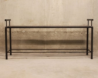 Metal Bench with Mesh Top and Rebar Frame Shelf