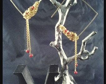 Tangled Chain Brass Earrings