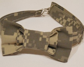 Army camo bowtie for baby boy, toddler, boy. Camo bow tie. ACU bow tie